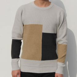 小值覺 現貨2020春季新款時尚潮流潮男氣質修身圓領拼色毛衣 643114
