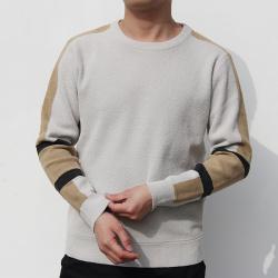 小值覺 現貨2020春季新款時尚潮流潮男氣質修身圓領拼色毛衣 643115