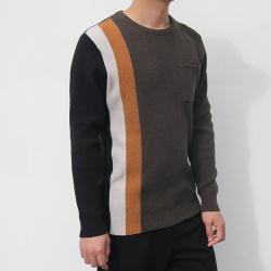 小值覺 現貨2020春季新款時尚潮流潮男氣質修身圓領拼色毛衣 643116