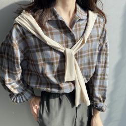 芷苁夕2020春季新款韩版复古百搭宽松长袖棉质格纹衬衫女1729
