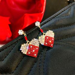 【艾美】中國風新年紅色愛心氣質甜美滿鉆耳環(配盒子)  愛心紅耳環#  YC