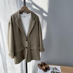 芷苁夕2020早春新款 颜色太美 宽松BF风复古中长款西装外套女1722