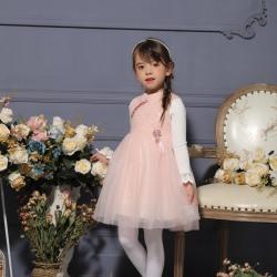 伊卡通 网纱气质公主无袖呢子可爱女童中式网纱裙 932023