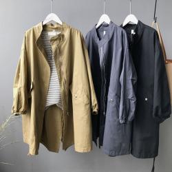 小言2020春季新款中长款风衣女BF风抽绳水洗棉外套大码 99285