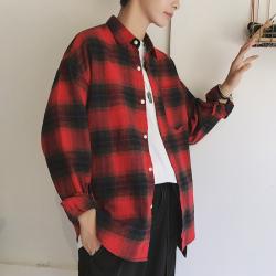 第一男孩 2020年春季新款時尚潮流潮男個性百搭變男神氣質港風格子休閑襯衫 2202