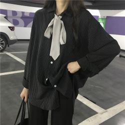 星达网红款2020春季新款chic翻领竖条纹领带系带衬衣女装 潮可代发22607008932041