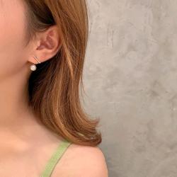 ins氣質一字碎鉆珍珠精致后置款耳環(925銀針)  qa013#  HMQ