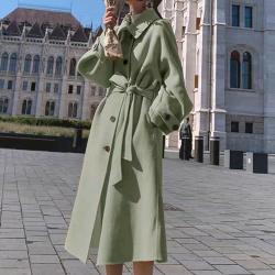 流行秋冬新韩版过膝赫本风气质加厚中长款羊毛外套(实际含量90%羊毛)  2012#  XNM