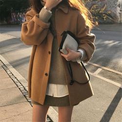 小个子潮流新品落肩袖方领大衣羊毛外套(90%羊毛)  19018#  XNM