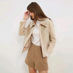 韓版時尚大方休閑百搭仿皮毛一體顆粒絨大衣(19.1%羊毛)  2067#  XNM