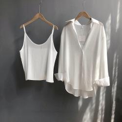 芷苁夕秋装新款纯色缎面光泽感女式两件套防晒衬衫+吊带1082