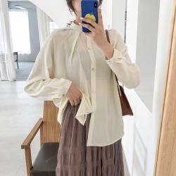 美歌2020新款韩版衬衫女立领设计感上衣长袖宽松衬衣NCK6