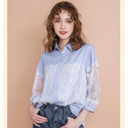 秀刊2020春季新款品牌女装翻领条纹七分袖上衣气质名媛女士衬衫51186