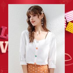 秀刊2020春季新品品牌女装方领五分袖纯色上衣气质轻熟女士衬衫51191