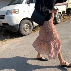 三崢碎花雪紡褶皺半身裙女2020春季新款韓版中長款A字裙Q81711