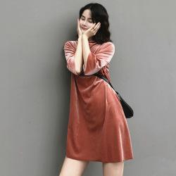 君尚韩版女装春夏金丝绒宽松显瘦短袖圆领t恤上衣7205