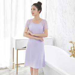 皇子家族圆领袖部蕾丝拼接气质优雅莫代尔中长款连衣裙9127