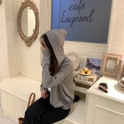 三峥纯色单排扣连帽针织衫女2020春季新品韩版休闲开衫女M9622