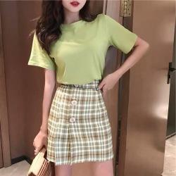 雅莹牛油果时尚套装女轻熟风绿色T恤+小个子显高包臀A字裙6217
