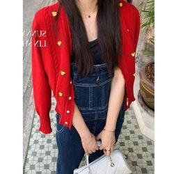 ELE少女心洋气刺绣小花红色针织开衫外套女2020年春秋季上衣9736#