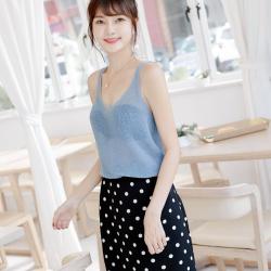 镂空针织吊带打底背心女夏2020新款韩版美背网眼无袖上衣一件代发