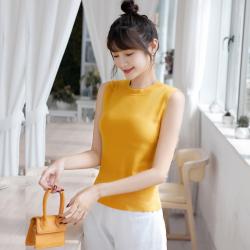 2020韩版新品纯色针织打底衫修身无袖上衣内搭外穿冰丝小背心女夏