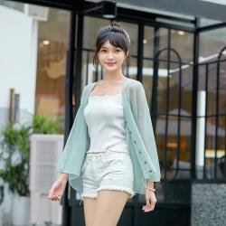 2020新款针织开衫开夏防晒衫女装一件代发韩版纯色镂空V字领单排扣薄款外套