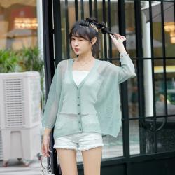 新款针织开衫开夏防晒衫女装一件代发韩版纯色镂空V字领单排扣薄款外套