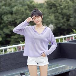 纯色外套女春季新款韩版女装宽松V字领连帽长袖针织衫