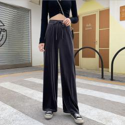 2020女装新款裤子 韩版时尚高腰金丝绒直筒裤阔腿裤 女装一件铺货