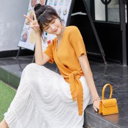 纯色针织衫女秋季2020新款韩版女装一件代发亚麻V领系带短袖外套