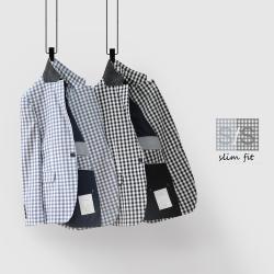 UNDERCROXX 2020新款时尚气质男士格子西装外套 5367