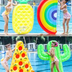 网红火烈鸟游泳圈儿童水果水上充气玩具浮排女成人动物坐骑浮床