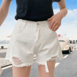 女夏超短裤牛仔韩版黑白纯色破洞显瘦宽松高腰牛仔短裤女 E31-6632#