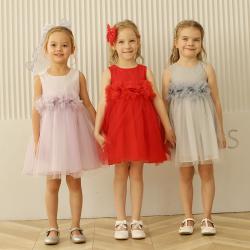 伊卡通 夏季新款时尚气质可爱女童中式无袖网纱裙蛋糕裙公主裙 921071