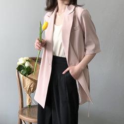 小言 夏新款韩版西装外套女设计感显瘦收腰系带五分袖小西服女0807
