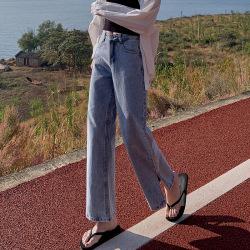牛仔褲女夏季2020新款高腰直筒休閑顯瘦寬松闊腿網紅九分一件代發 857#