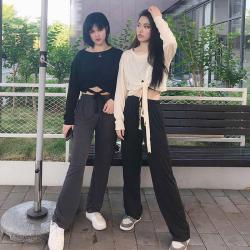 明昇 2020新款姐妹装百搭露脐打底衫+高腰宽松显瘦港味拖地裤两件套