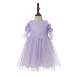 伊卡通 夏季新款时尚气质可爱女童中式短袖网纱裙蛋糕裙公主裙 021060