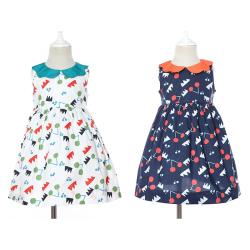 伊卡通 夏季新款时尚气质可爱女童中式无袖印花荷叶领公主裙 921153