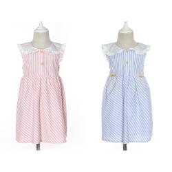 伊卡通 夏季新款时尚气质可爱女童中式无袖竖条纹荷叶领公主裙  921155