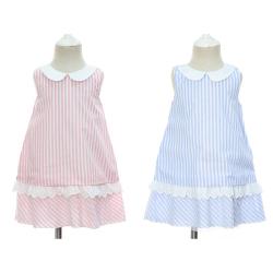 伊卡通 夏季新款时尚气质可爱女童中式无袖荷叶领竖条纹公主裙 921156