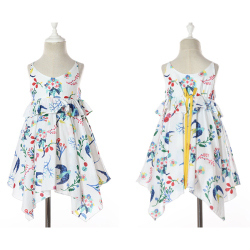 伊卡通 夏季新款时尚气质可爱女童中式无袖印花不规则裙摆公主裙 921216