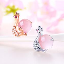 镶嵌5A锆石+粉晶芙蓉石蜗牛项链 PHP0052