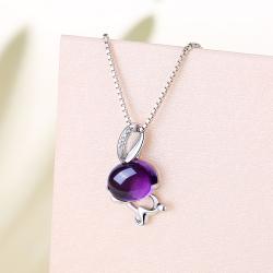 镶嵌5A锆石+紫水晶紫晶俏月兔吊坠 PHR002