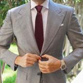 AujacSon奥杰逊 婚庆商务真丝领带男士上班日常(另含丝袋包装)酒红雅致小提花