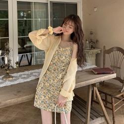 ELE实拍 2020夏季碎花吊带裙子宽松防晒衬衣两件套12465#