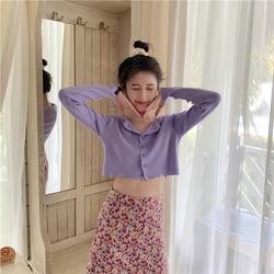 优朗 短款露脐针织开衫女2020夏季新款bm风打底衫修身长袖紫色上衣外套 5203