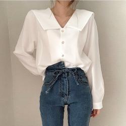 ELE鬼马系少女 BLOUSE 白色或粉色 小仙气衬衣9488#