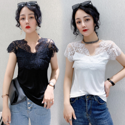 8870#2020歐貨夏新款短袖性感蕾絲拼接螺紋棉T恤女打底衫顯瘦上衣